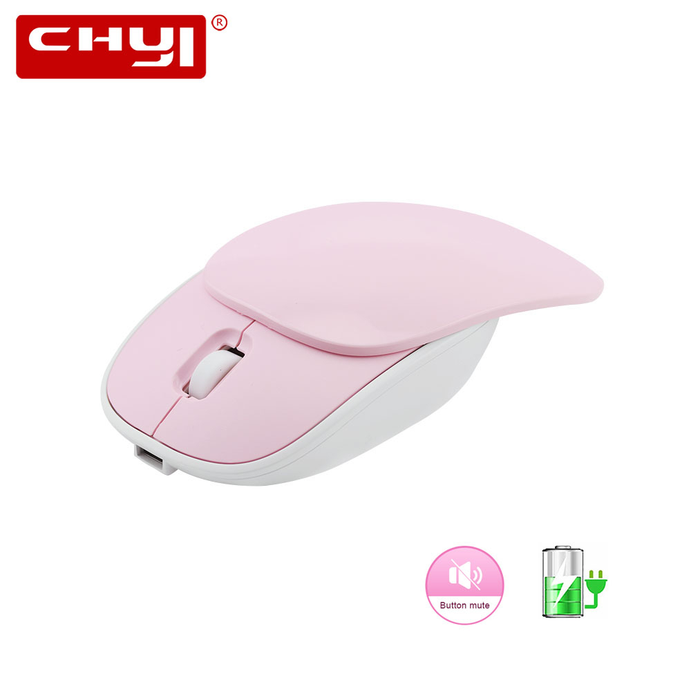 CHYI 2.4G Silent Wireless Mouse Rechargeable USB Optical Mice 1600 DPI Slide Computer 3 Buttons Pink Mause For Office Laptop PC image