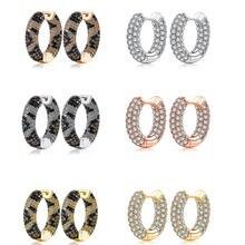 Zemior kpop brincos para mulheres cor misturada completa zircônia cúbica círculo dourado hoop brinco moda feminina cobra cz festa jóias