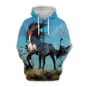 Tessffel Animal Horse art Unisex Colorful Casual Tracksuit Harajuku 3DfullPrint Zipper/Hoodies/Sweatshirt/Jacket/Mens Womens s-8 2