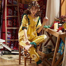 2020 Hot Sale Cotton Pajamas Sets For Women Stylish Cartoon Pijamas Long Sleeves Long Pans Ladies Cute Pyjamas Casual Homewear cheap 2901 Round Neck Full Length Half Spring pullover china Thin section Female Comfortable knitting Doll Collar 1 - 2cm (18-30) year old