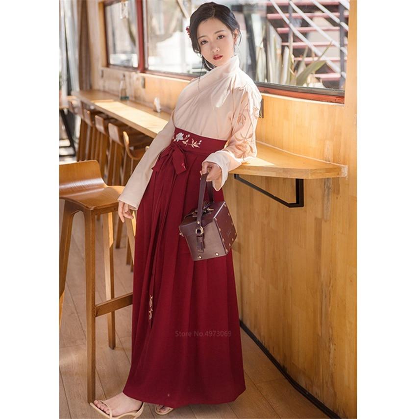 Kimono Women Vintage Japanese Style Yukata Haori Sakura Girl Embroidery Top Skirts Suit Haori Kawaii Girls Long Robe Vestidos