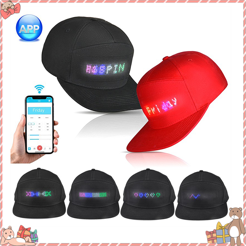 Party LED Light Hat Bluetooth LED Hat Programmable Scrolling Message Display Board Baseball Cap Self-editing Cap Dropshipping