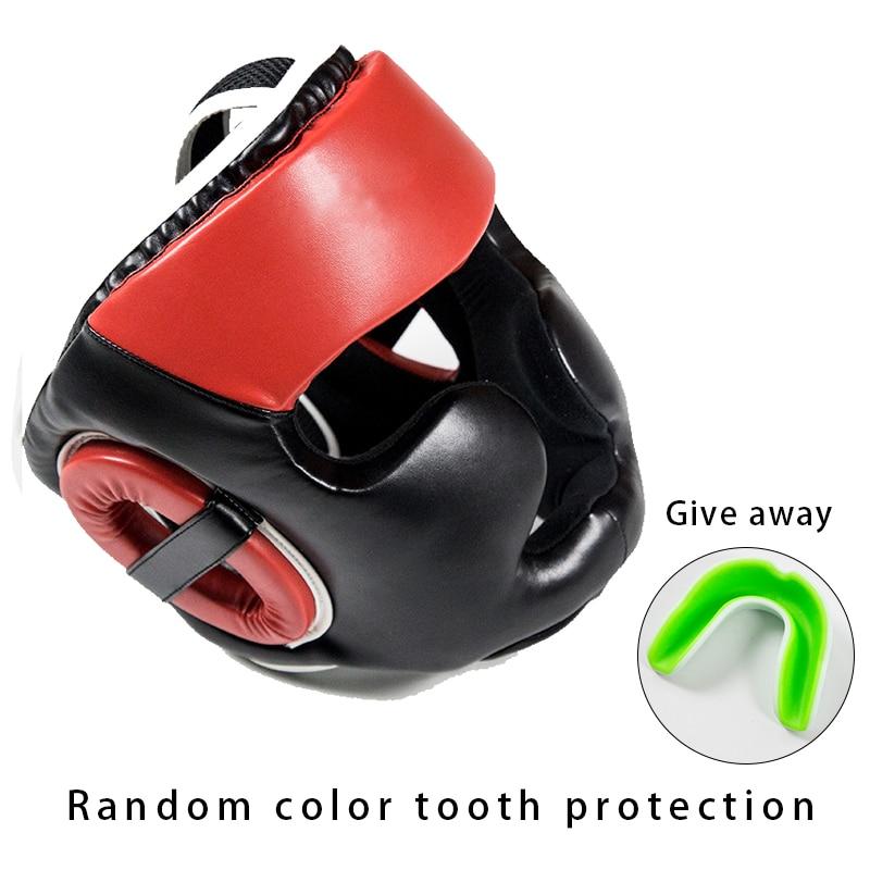 Crianças adultas sanda cabeça guarda boxe mma cabeça guarda dentes muay thai grosso treinamento de combate fullcover taekwondo cabeça guarda 3
