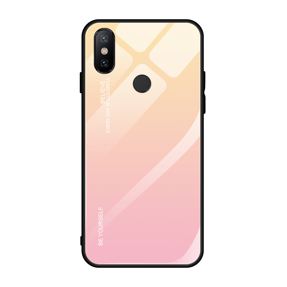 2019 Tempered Glass on for xiaomi CC9 CC9E case Gradient colorful case for xiaomi8 8lite 9 9se for xiaomi 5X 6 6X A2lite cover in Fitted Cases from Cellphones Telecommunications
