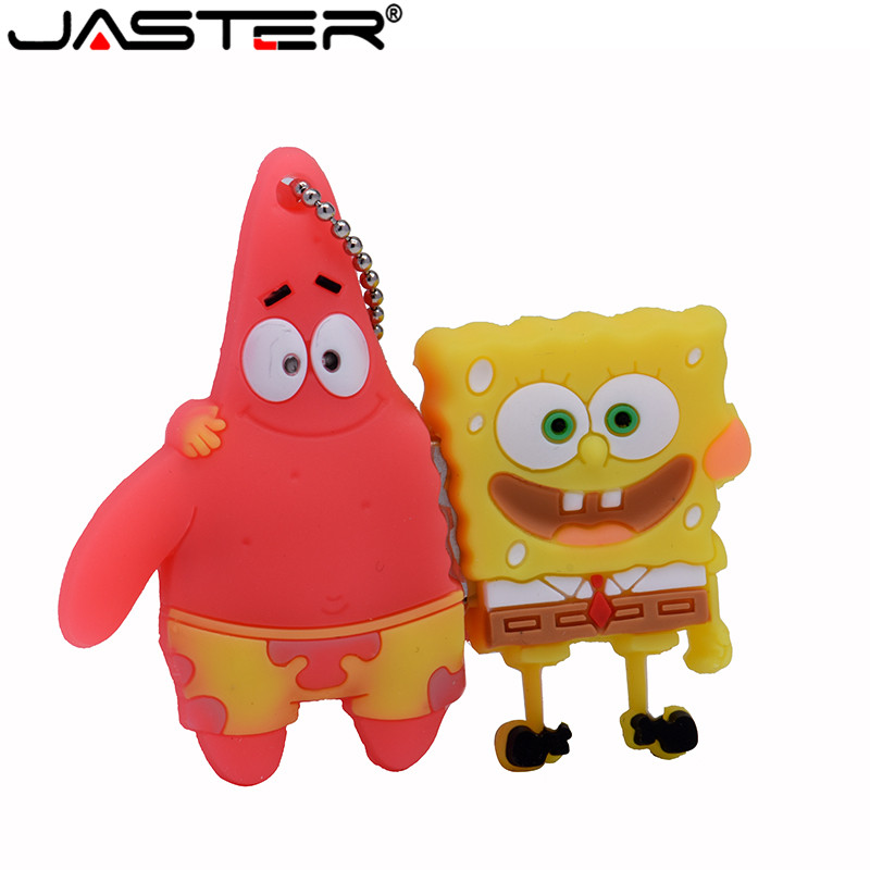 JASTER Cool Cute SpongeBob Usb Flash Drive Usb 2.0 4GB 8GB 16GB 32GB Pendrive 64GB Usb Stick