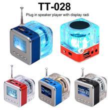 TT 028 متعدد الألوان مكبر الصوت LED عرض محمول صغير ستيريو المتكلم USB FM SD آيفون/آي باد/آي بود/MP3/PC