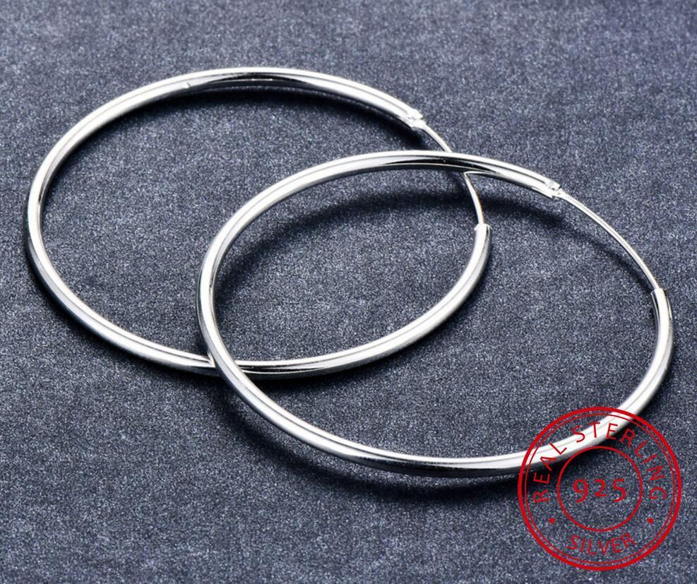 Authentic 925 Sterling Silver Simple Fashion 6cm/5cm Circle Round Hoop Earring For Women Trendy Fine Jewelry