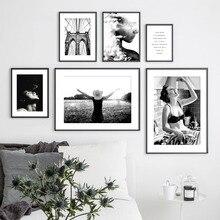 Pasta momento chica silueta Vintage cuadro sobre lienzo para pared carteles nórdicos e impresiones cuadros de pared para sala de estar decoración del hogar