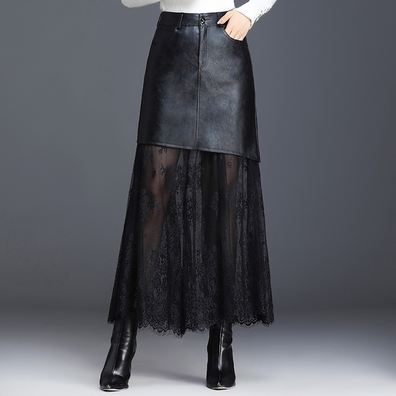 Autumn PU Leather Long Skirt 2019 Korean Edition Solid Black Lace Patchwork Slim Fit A Line Maxi Skirt Elegant Office Lady Skirt