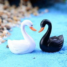Ornament Swan-Figurines Miniatures Animal Fairy Garden Home-Decor Small Black White Love
