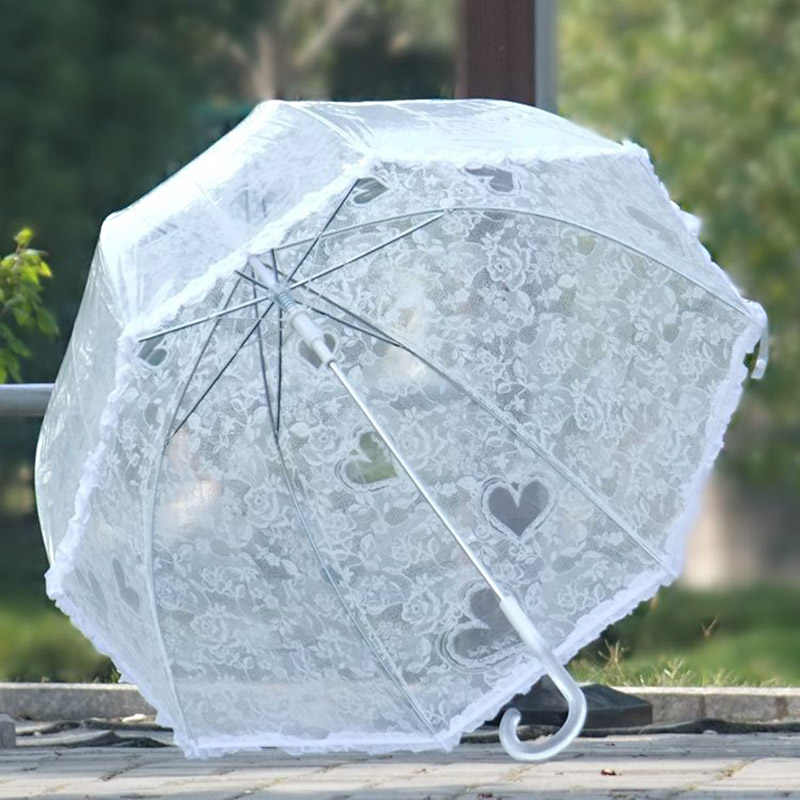 Summer Mushroom Lace Sun Rain Umbrella For Women Wedding Bridesmaid  Long Handle Decoration Umbrellas Lolita Christmas Gift