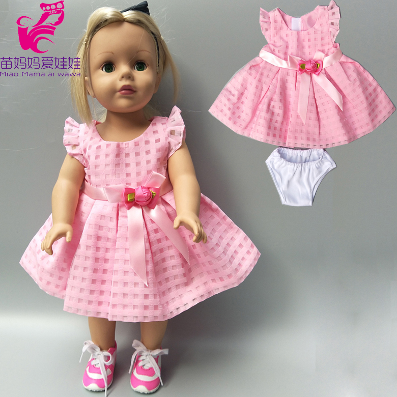 Doll Clothes For 17 Inch 43cm Baby New Born Doll Pink Dress Clothes For 18 Inch Girl Doll Dress Dropshipping
