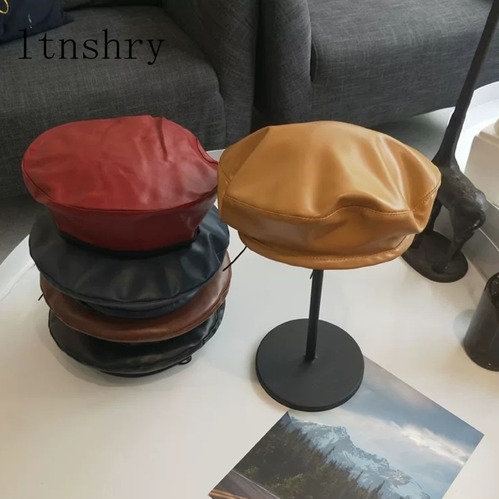 2019 New Beret Cap Fashion Women Casual PU Leather Beret Hat For Women Autumn Winter Retro Beanie Caps Hot Solid color in Men 39 s Berets from Apparel Accessories