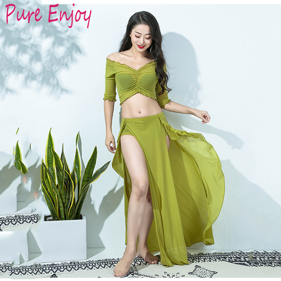 2019 Women Cheap Class Wear Off-shoulder Top And Long Skirt Side Slit Belly Dance Costume Set For Girls (with Shorts)