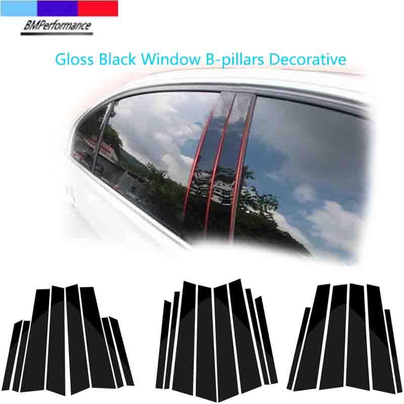 Глянцевый черный для BMW E60, E90, F30, F10, F20, F07, E70, E84, E46, X1, декоративная наклейка на окно автомобиля, B-колонны, стильные аксессуары для отделки авто...