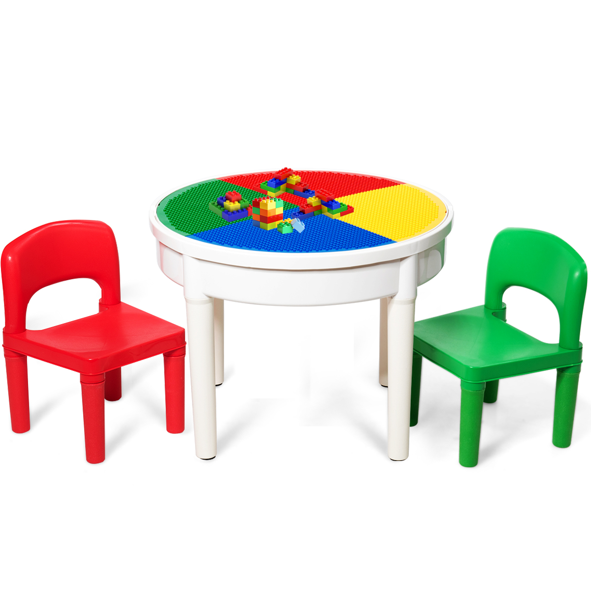 Costway 3 In 1 Kids Activity Table Set Water Craft Building Brick Table