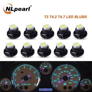 Сигнальная лампа NLpearl 10x T3 T4.2 T4.7, светодиодные лампы 12 в 1 SMD 2835 5050, чипы для приборной панели автомобиля, босветильник салона автомобиля