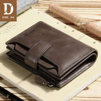 DIDE Trifold Wallet Large Capacity Casual Business Genuine Leather Wallet Male Short Clutch Bag men For Gift Coin Purse 2019 New