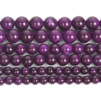 Charoite koraliki z kryształami i naturalnymi kamieniami okrągłe luźne koraliki do wyrobu biżuterii zestaw do robienia bransoletek akcesoria naszyjnikowe koraliki 4 6 8 10 12MM tanie i dobre opinie CN (pochodzenie) NONE Kamień zawieszki Okrągły kształt moda H8540 Beads for jewelry making handmade Loose Spdacer beads Perles