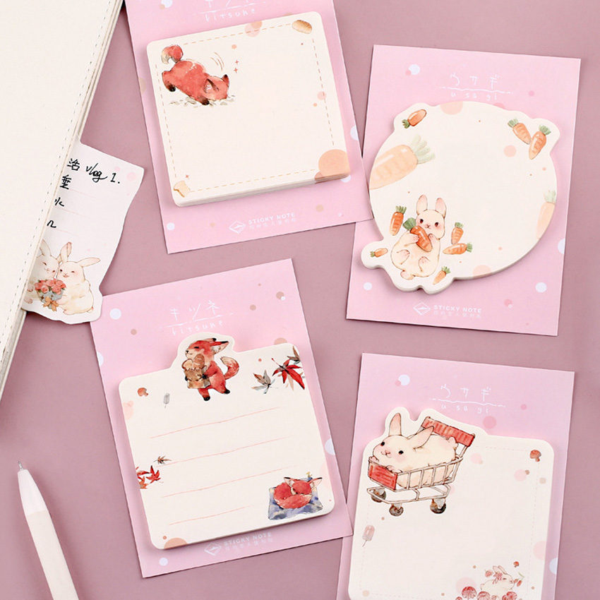 20packs/lot Cute Animal Message Sticky Notes Office Supply School Stationery Notepad Memo Pad