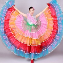 Spanish Flamenco Modern Dance Dress Multicolor Mesh Ruffle Layer Swing Ballroom Costume 912-A093