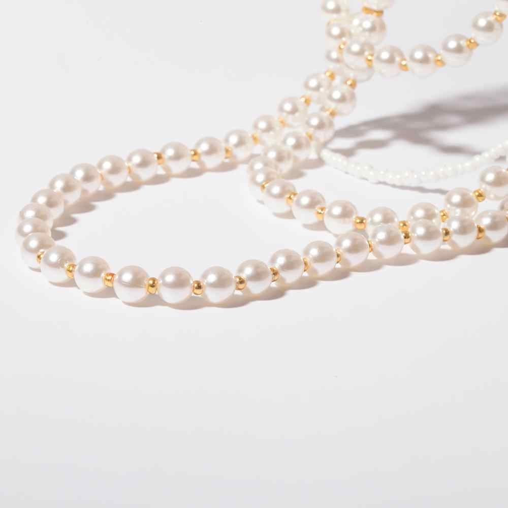 Retro Noble Metal Necklace Multilayer Rice Beads Girls Choker Pearl Necklace Ladies Jewelry Gift Precious Ornaments Pendants