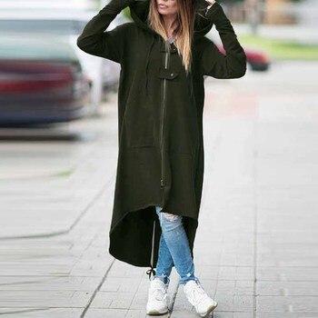 2020 ZANZEA Women Hooded Long Sleeve Zipper Drawstring Casual Irregular Coat Casual Solid Long Jacket Sweatshirt Plus Size 4