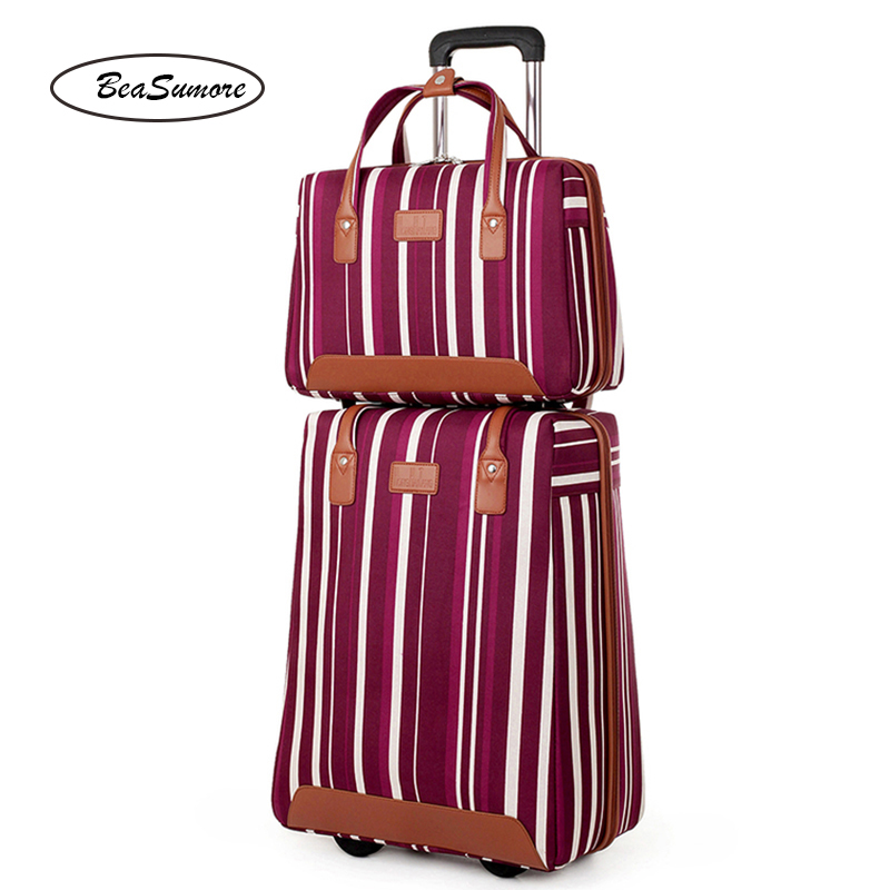 BeaSumore Oxford Stripe Rolling Luggage Set 20 Inch Carry Ons Computer Trolley High Capacity  Women Suitcase Wheels Trunk