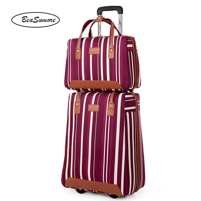 BeaSumore Oxford rayure roulement ensemble de bagages 20 pouces transporter Ons ordinateur chariot haute capacité valise femmes roues tronc