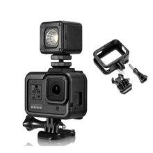 البلاستيك الإطار القياسي ل GoPro بطل 8 الإسكان قذيفة الفيديو الضوئي واقية ميكروفون جبل حامل عمل ملحقات الكاميرا