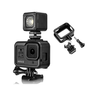 Image 1 - البلاستيك الإطار القياسي ل GoPro بطل 8 الإسكان قذيفة الفيديو الضوئي واقية ميكروفون جبل حامل عمل ملحقات الكاميرا