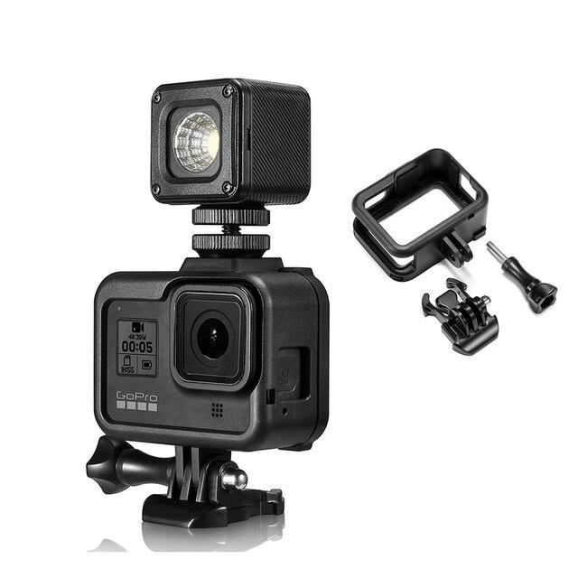إطار بلاستيكي قياسي لـ GoPro Hero 8 ، هيكل واقي ، ضوء فيديو ، حامل ميكروفون ، ملحقات كاميرا الحركة