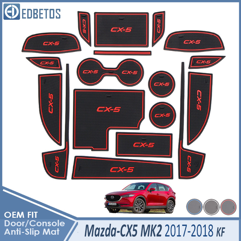 Anti-Slip Mat <font><b>For</b></font> <font><b>Mazda</b></font> <font><b>CX</b></font>-<font><b>5</b></font> 2017 <font><b>2018</b></font> <font><b>2019</b></font> MK2 KF CX5 <font><b>CX</b></font> <font><b>5</b></font> Accessories Gate Slot Coaster Anti-Dirty Door Groove Mat Car image