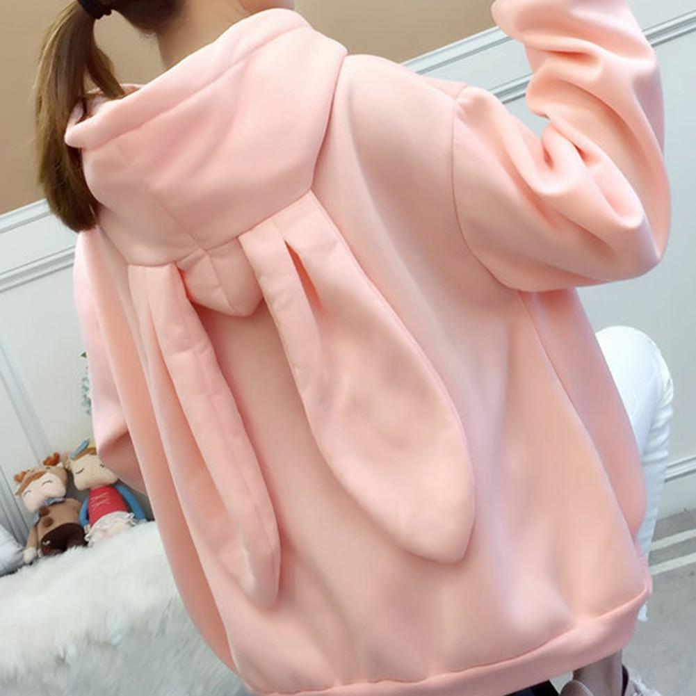 Girl Cute Sweet Hoodies Rabbit Ear Sweatshirt Women Winter Warm Hoodie Sweatshirts With Front Pocket Sudadera Mujer