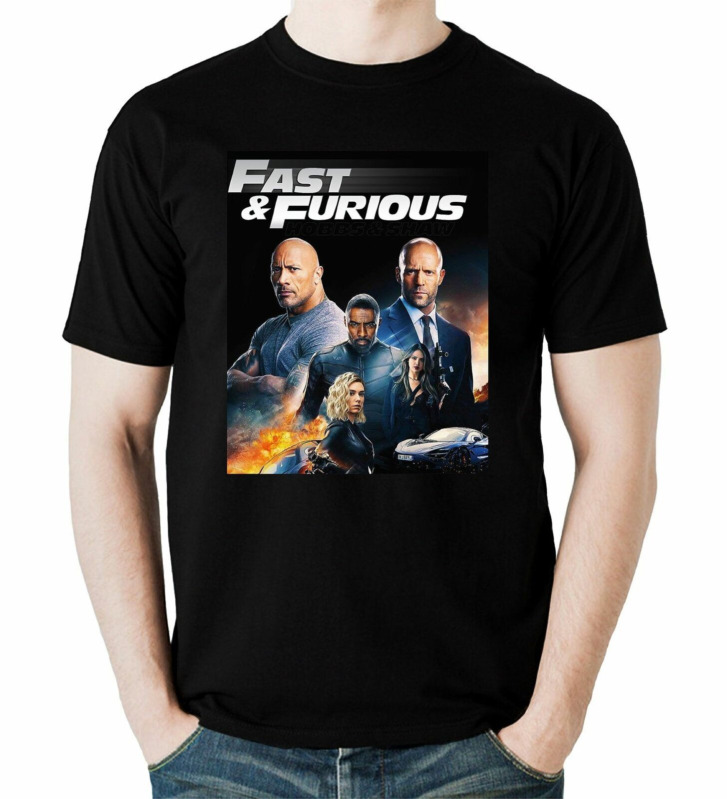 Fast & Furious Hobbs & Shaw T-Shirt Racing Sport Action Movie Men Black T-Shirt image