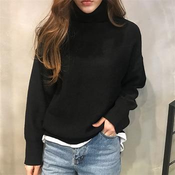 Ailegogo New 2019 Autumn Winter Women's Sweaters Turtleneck Loose Warm Minimalist Tops Korean Style Knitting Ladies SW8307 5