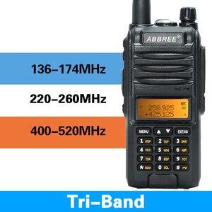 Image 1 - 2020 Abbree AR F3 Tri Band 8w Walkie Talkie uhf vhf 220 260MHz ham lungo raggio palmare two way radio cb Ricetrasmettitore Da Trekking uv 5r