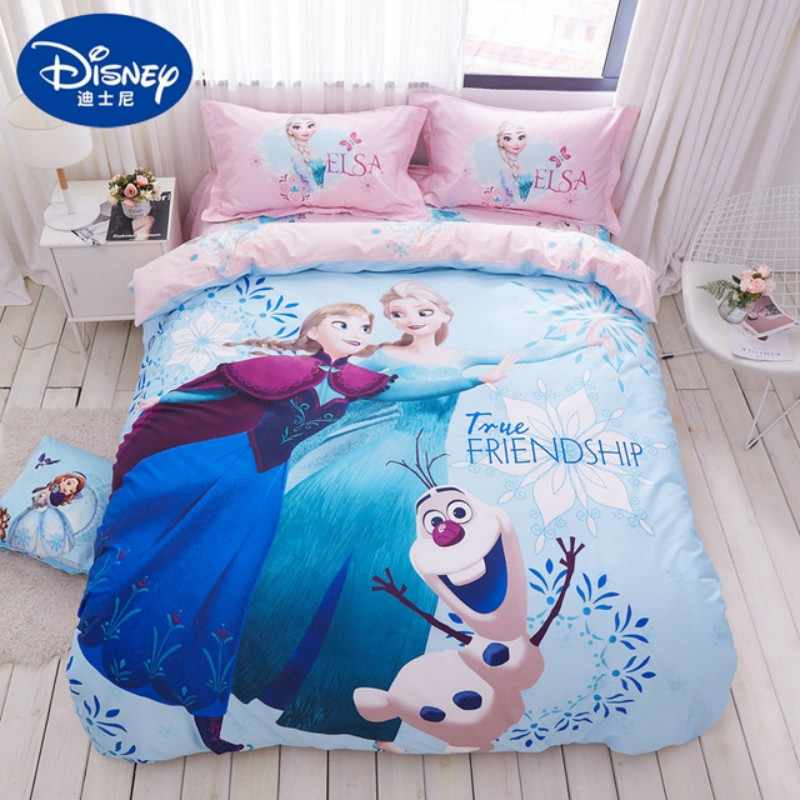 Twin Size Frozen Bedding Set Cotton For Girls Bed Decoration Queen Size Quilt Covers Full Bedspread Fitted Sheet 3 5pcs Discount Bedding Sets Aliexpress