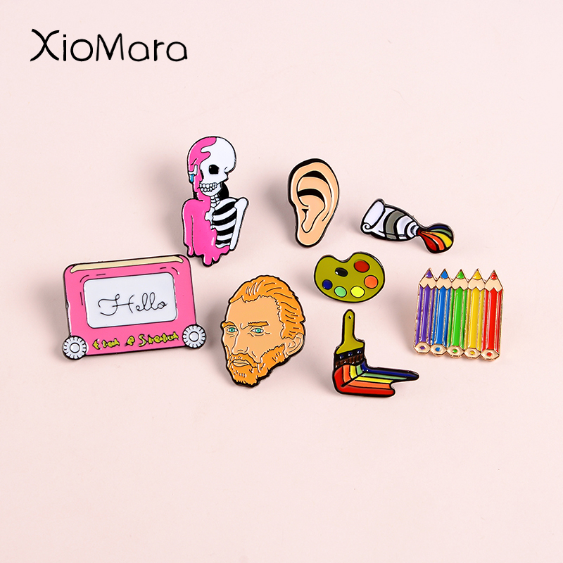 Drawing & Painting Enamel Pins Artist Rainbow Pencil Pigment Palette Van Gogh Ear Brooches Backpack Bags Badges Lapel Pins Gifts