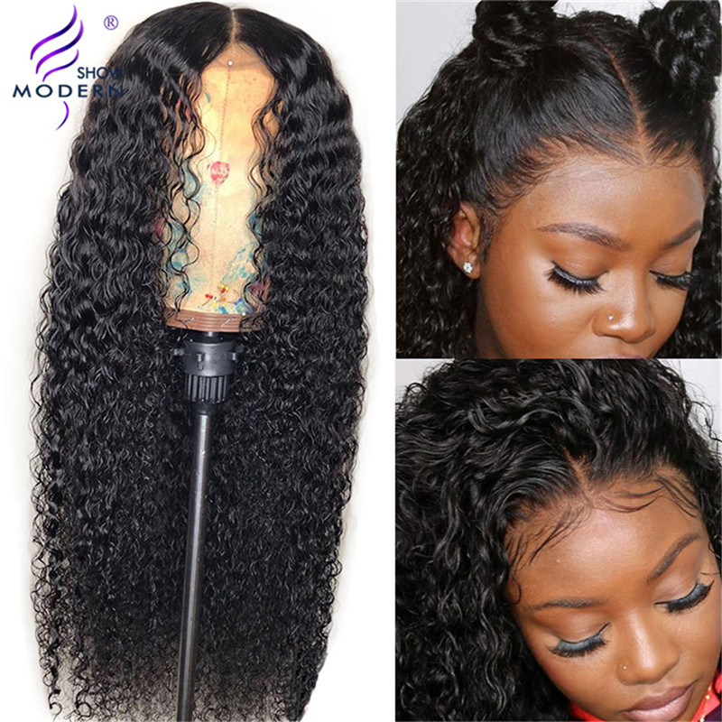 Modern Show 13*4 Curly Human Hair Wigs With Baby Hair Bleached Knots Brazilian Remy 13*4 Lace Front Wig PrePlucked 150 Density