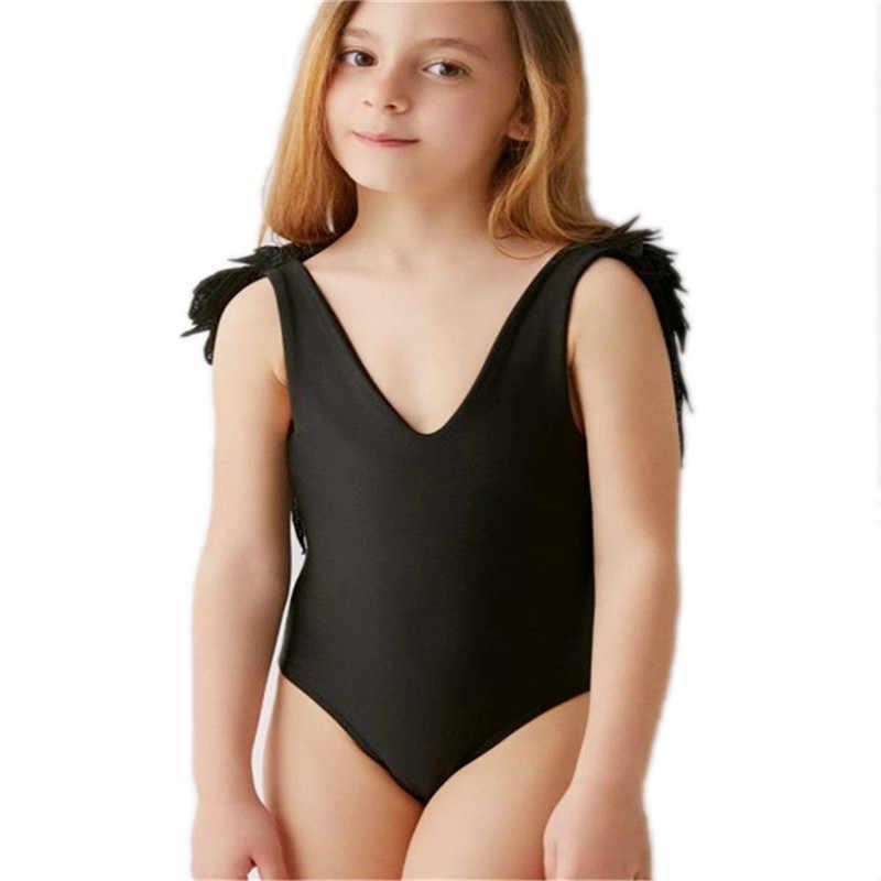 Mãe bebê roupa de banho de uma peça de biquíni feminino bodysuit pai-criança beach wear asa anjo monokini sem costas maiô novo