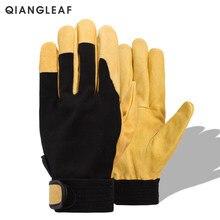 Qiangleaf marca nova proteção luva de segurança do couro dos homens amarelo motorista segurança corrida moto luvas trabalho 508np