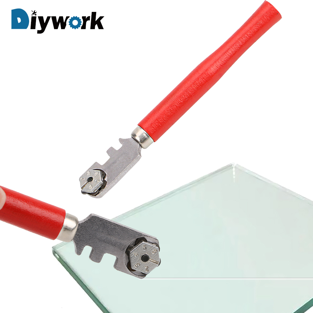 DIYWORK 1Pcs Glass Cutter Diamond Tipped Portable Wooden Handle For Professional Glass Tile Cutter Window Craft Hand Tool