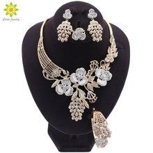 Afrika bildirimi altın takı setleri kadınlar için çiçek şekilli kolye küpe seti Charm kadınlar yıldönümü mücevherat
