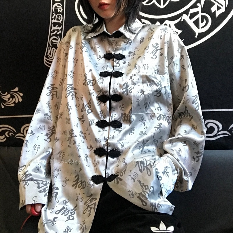 Chinese Traditional Hanfu Blouse Women Men Couple Harajuku Style Japanese Haori Jackets Kung Fu Calligraphy Print Coat Tang Suit