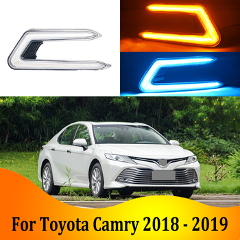 2pcs For Toyota Camry 2018-2019 LED Daytime Driving Running Light DRL Car Fog Lamp 6000K White Turn Yellow Turn Blue Light
