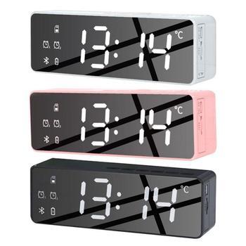 Przenośny głośnik Bluetooth-kompatybilny głośnik bezprzewodowy zegar głośniki Subwoofer Stereo głośniki odtwarzacz muzyczny budzik głośnik nowy tanie i dobre opinie HAIMAITONG Przenośne Z tworzywa sztucznego Pełny zakres 2 (2 0) CN (pochodzenie) 25 W NONE Brak B119 5v-1a 3 7V 18650 1200mAh