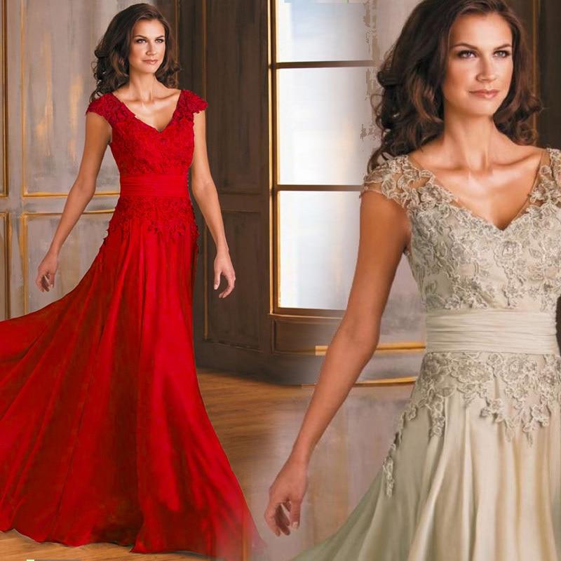 Vestido De Noiva Festa Casamento V-neck Lace Appliques Party Prom Evening Gown 2018 Woman Elegant Mother Of The Bride Dresses
