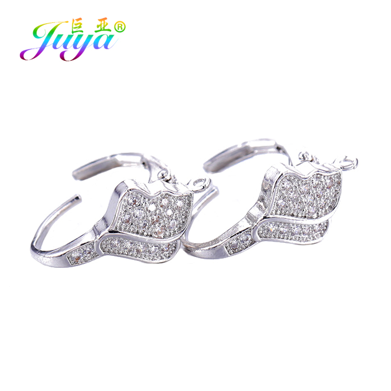 Juya DIY Women Fashion Earrings Accessories Supplies Gold/Silver Color Cubic Zirconia Bail Earring Hooks For Earrings Making
