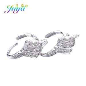 Juya DIY Women's Earrings Accessories Supplies Gold/Silver Color Cubic Zirconia Bail Ear Wire Hooks For Fashion Earrings Making